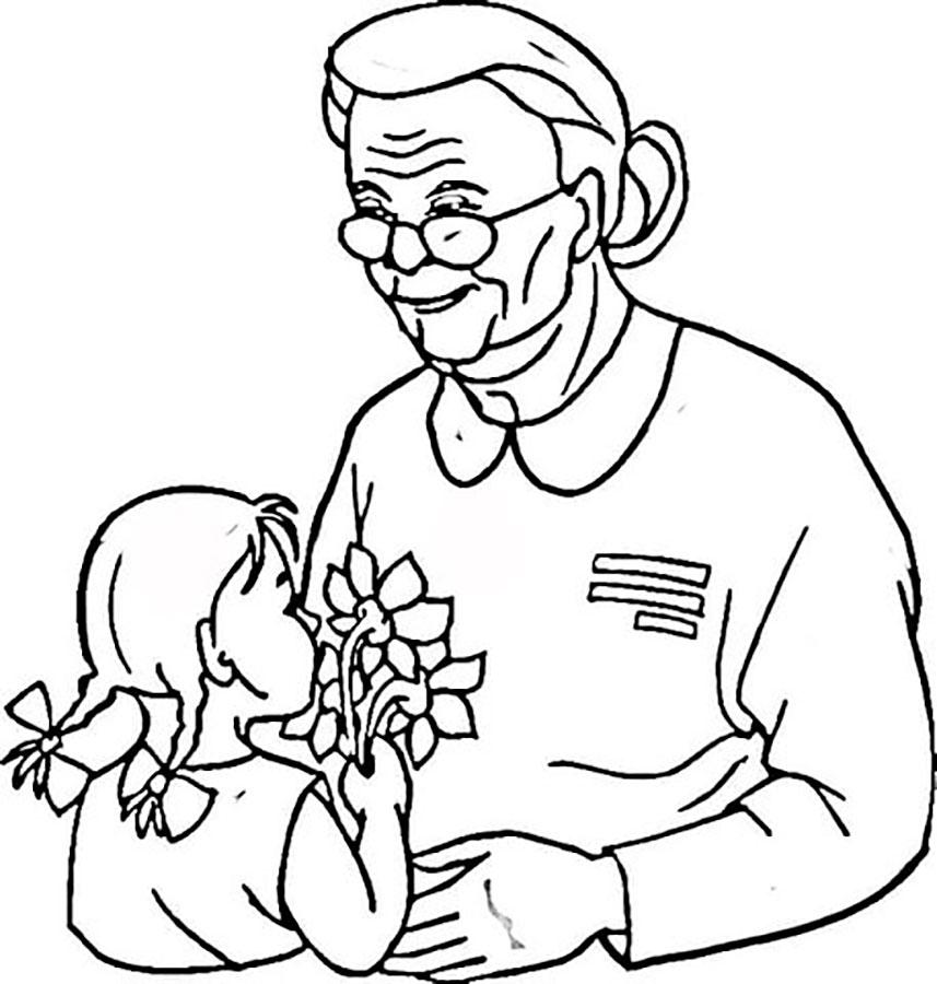 Открытки раскраски с днем пожилого человека