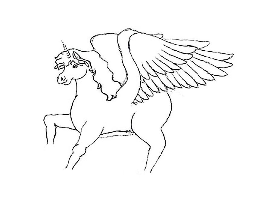 что картинка пегаса с крыльями раскраска является