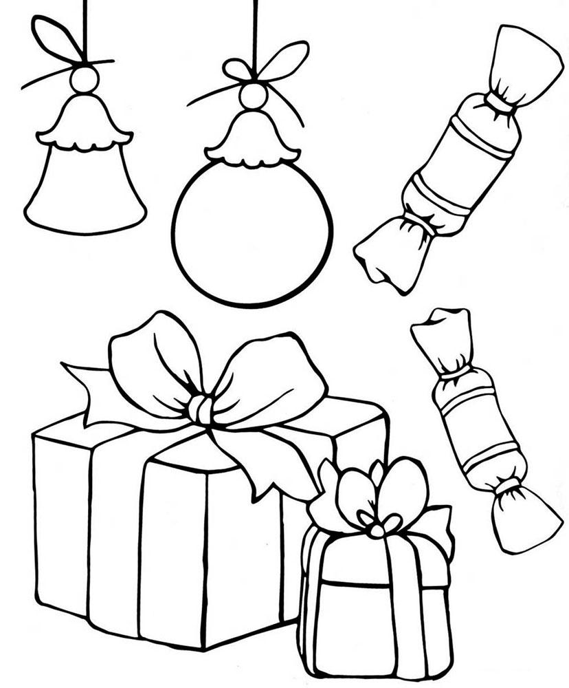 Раскраска подарок скачать и распечатать