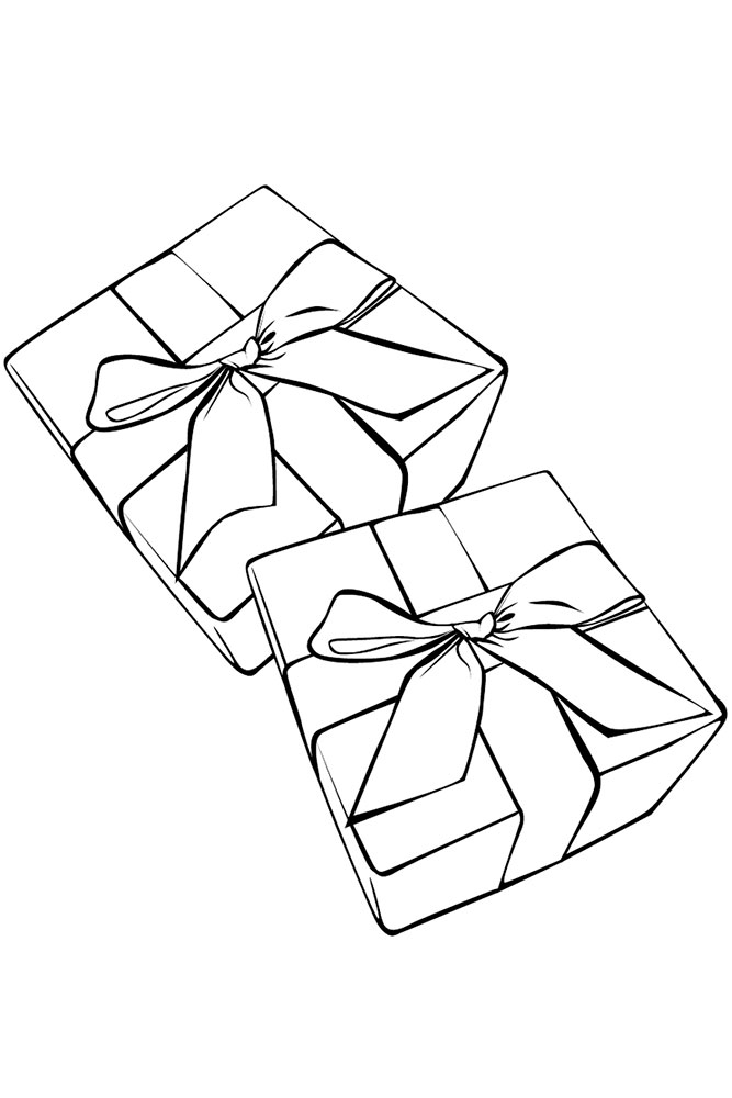 Картинка подарка в коробке с бантом для срисовки