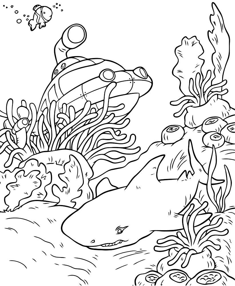 Надписью про, картинка подводный мир раскраска