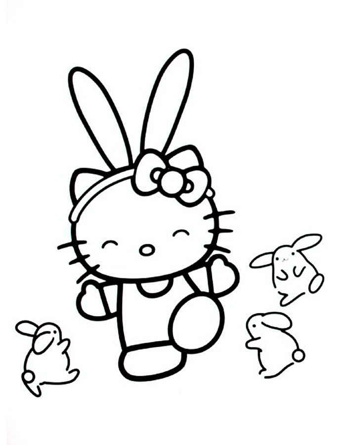 Hello kitty раскраска распечатать