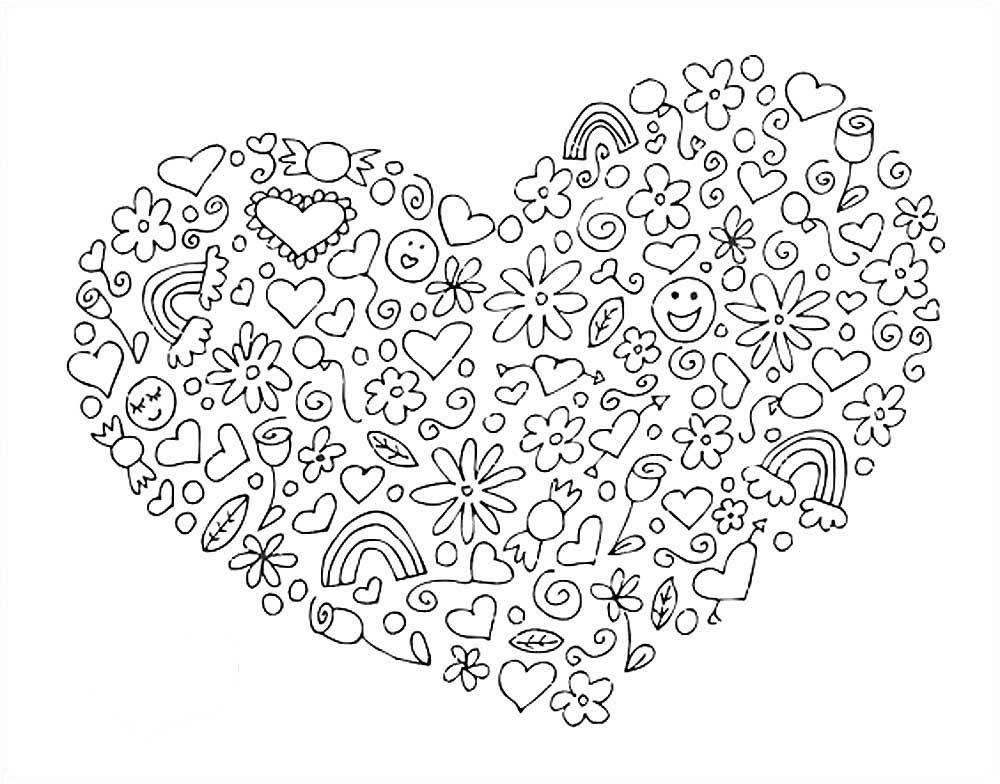 Скачать и распечатать раскраски картинки сердце
