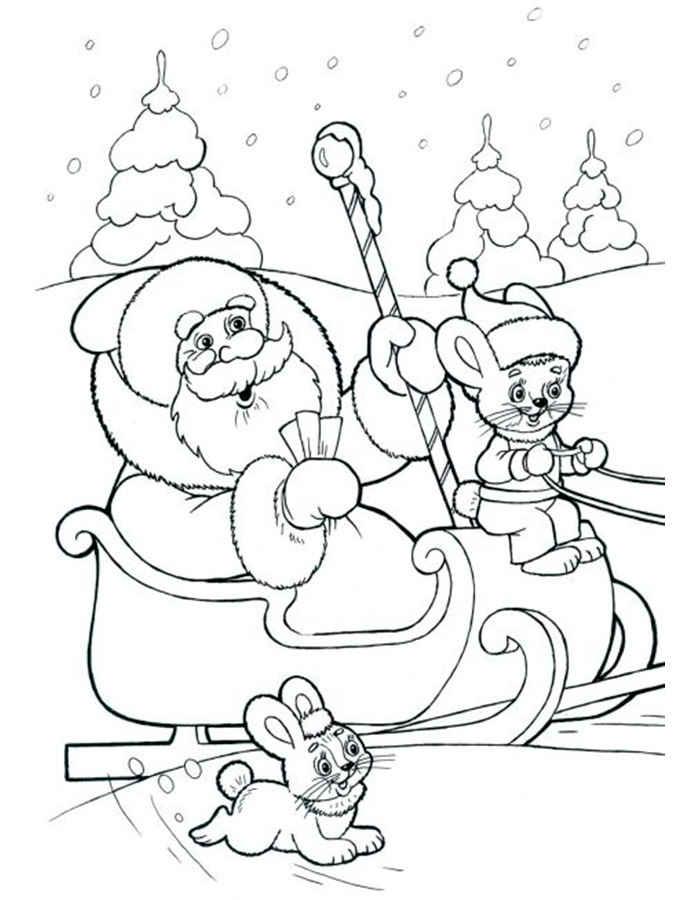 Раскраска Дед Мороз на санях скачать и распечатать
