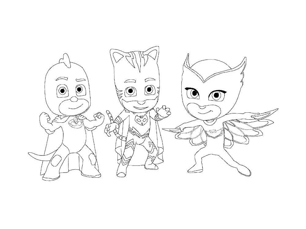 Раскраски из мультфильма Герои в масках скачать и распечатать