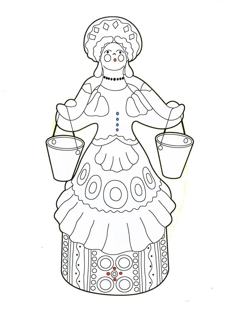 дымковская роспись картинки раскраски