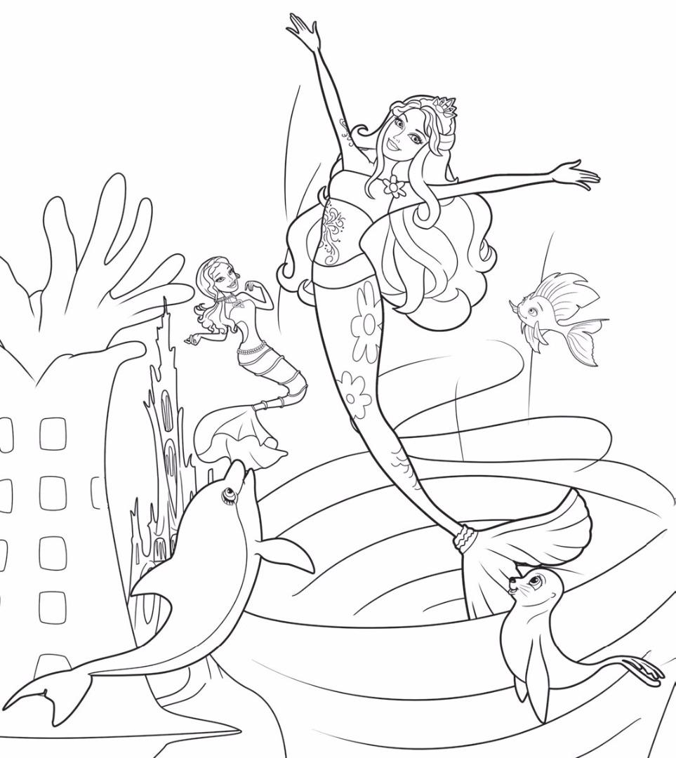 Скачать и распечатать раскраски Барби русалки