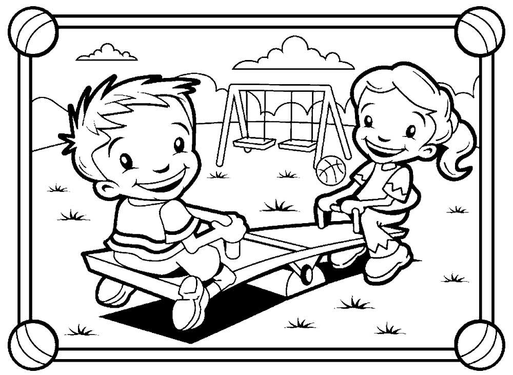 Картинки раскраски дети в саду