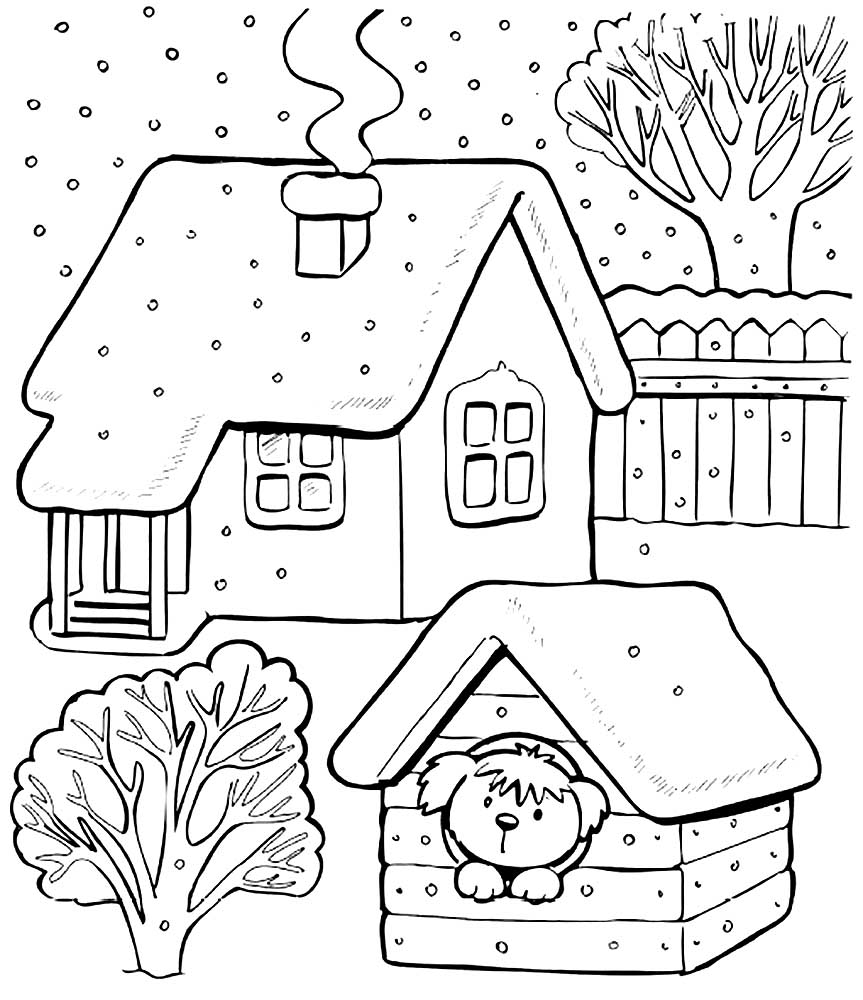 Раскраска для детей домик в деревне