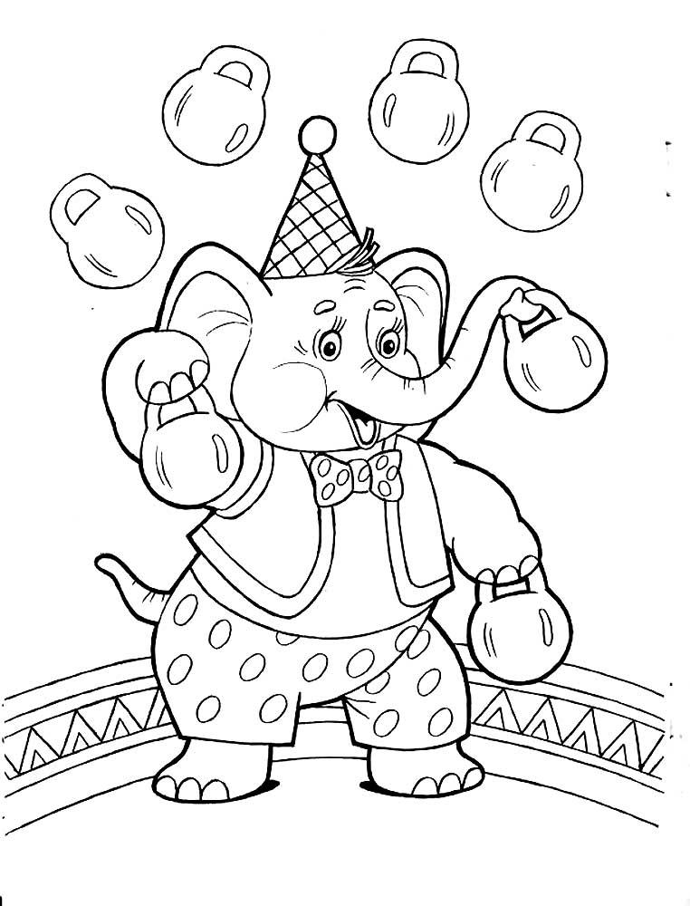 рисунок цирковые животные финише