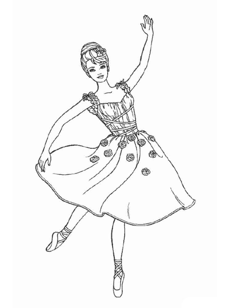 Раскраска танцующая девочка - 9