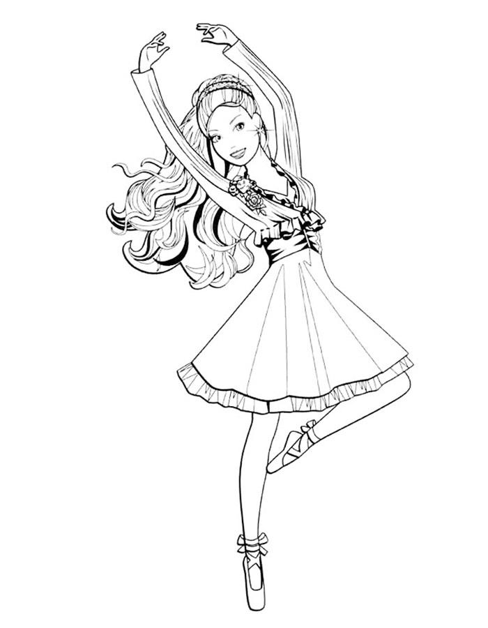 Распечатать бесплатно раскраски балерины