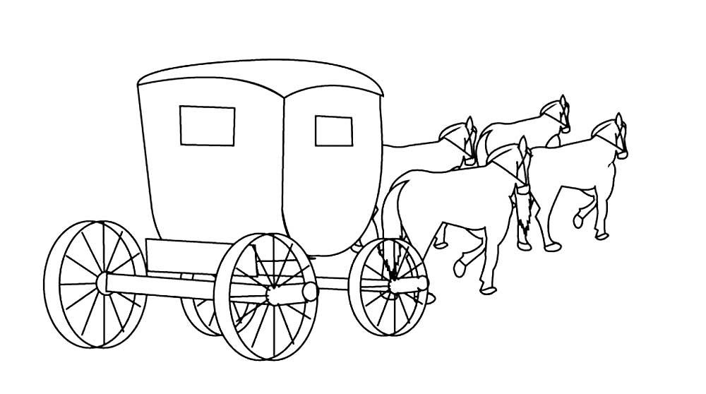 Рисунок карета с лошадьми