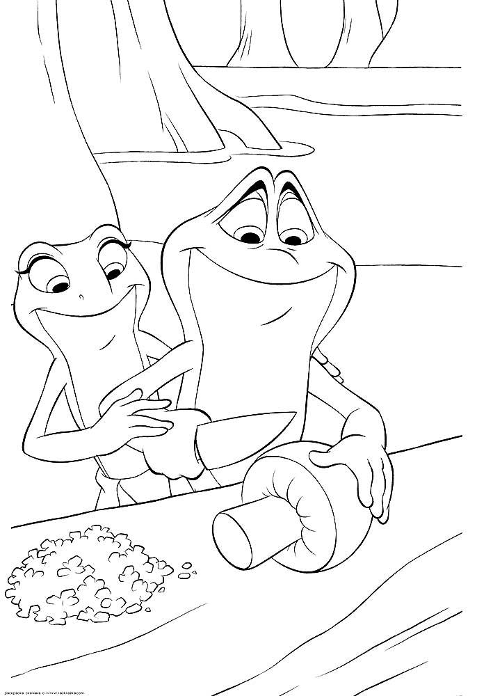 Раскраски из мультфильма Принцесса и лягушка скачать и ...