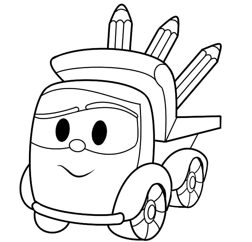 раскраски героев мультфильма грузовичок лева скачать и
