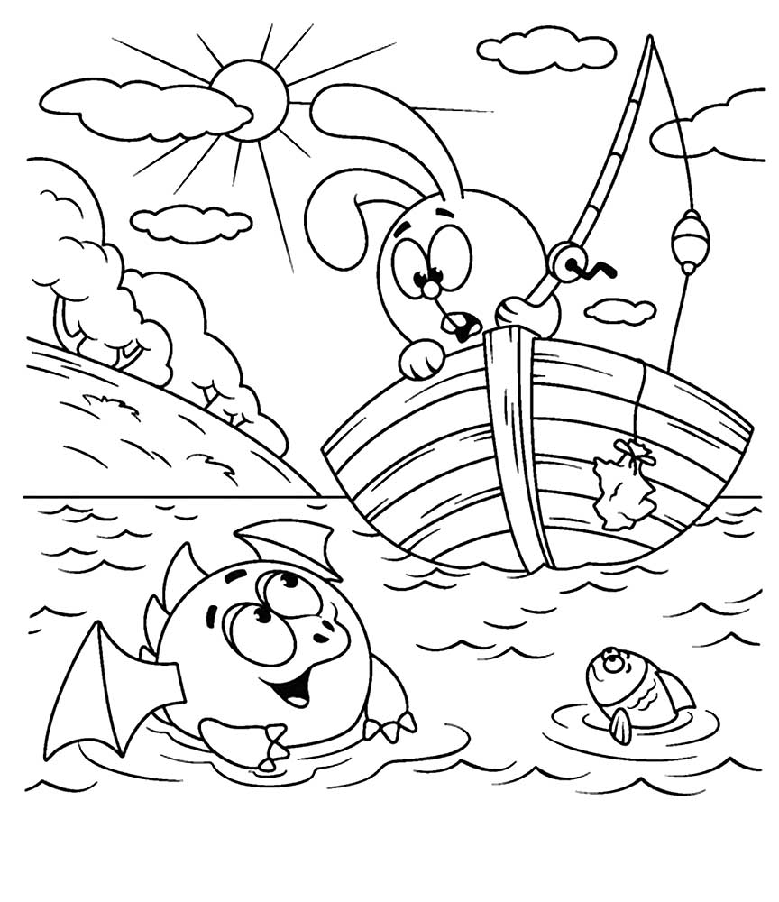 Раскраски героя мультфильма Смешарики Крош скачать и ...