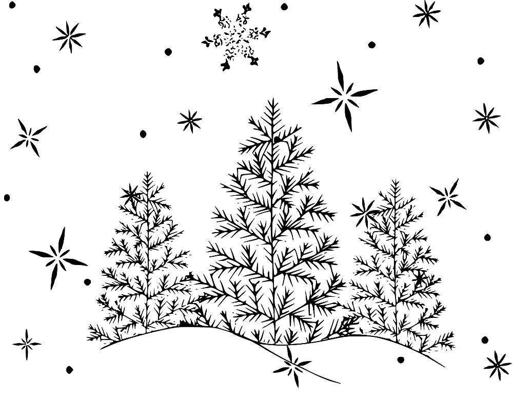Картинка зимний лес для детей раскраска, открытки цена
