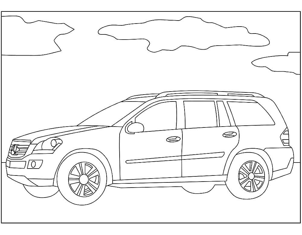 Раскраски автомобили марки Мерседес Бенц скачать и распечатать