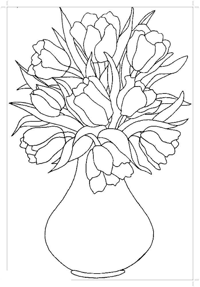распечатать раскраски цветы в вазе