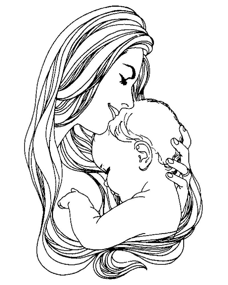 Картинки мама и ребенок на руках нарисованные