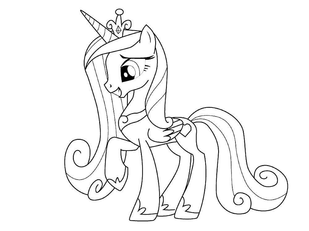 Скачать и распечатать раскраски пони Каденс
