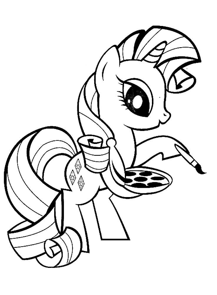скачать и распечатать раскраски пони рарити