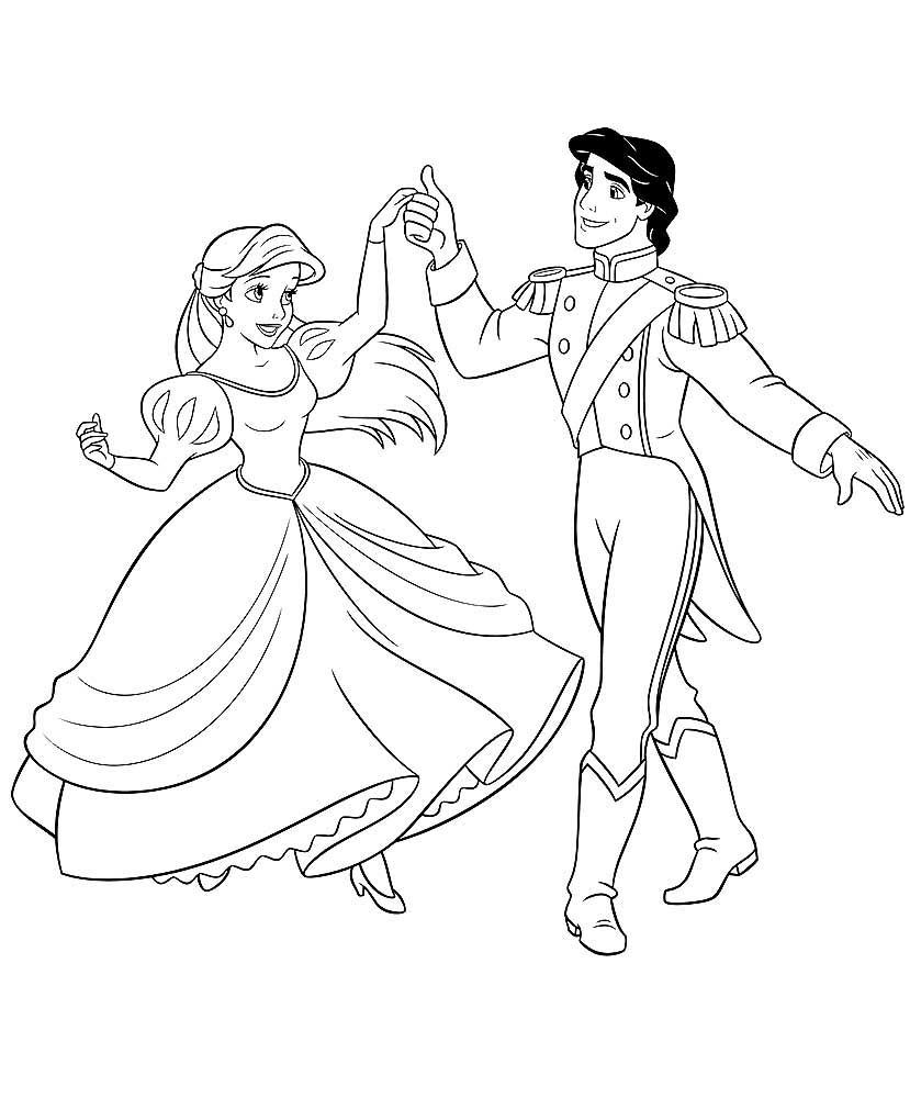 Скачать и распечатать раскраски принц и принцесса