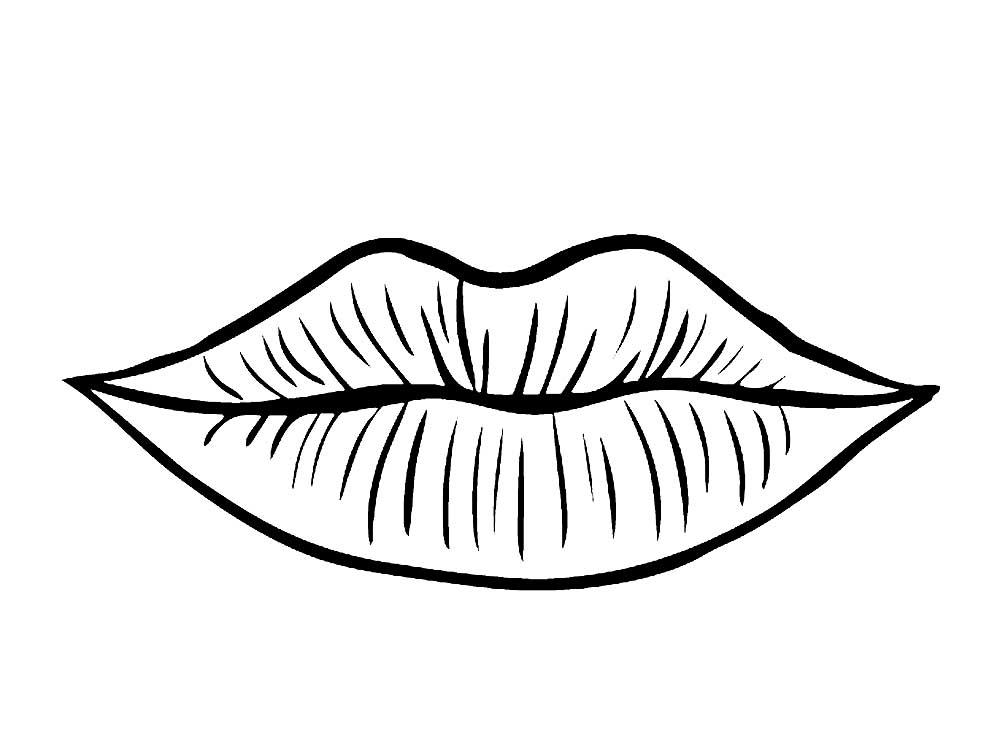 Картинки губы для детей нарисованные черно белые