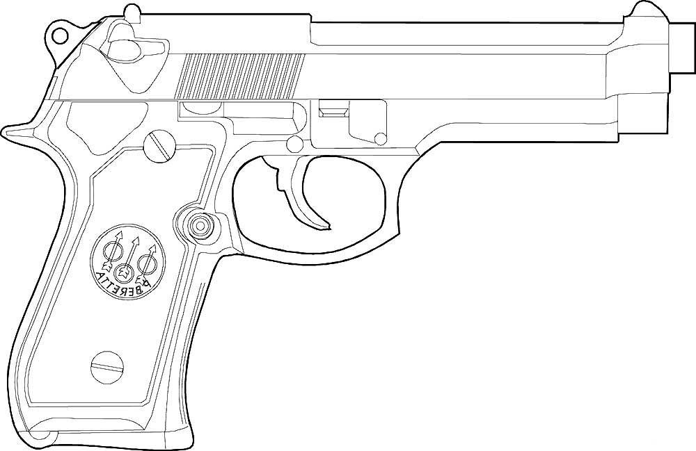Скачать и распечатать раскраски пистолет