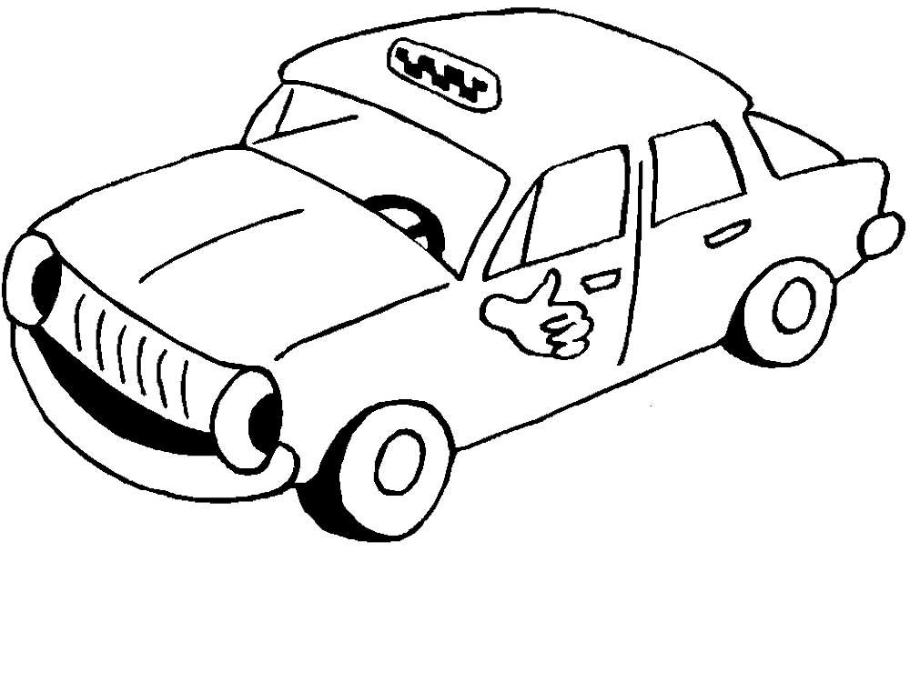 Распечатать машинки такси раскраски