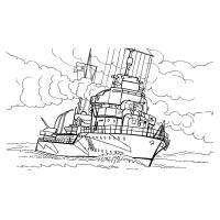 Раскраска корабль с парусами