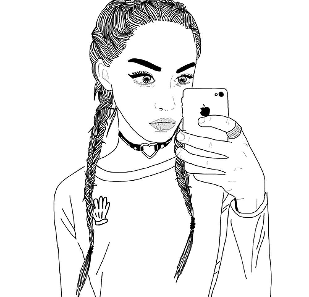 Картинки девушек нарисованных красивых с айфонами
