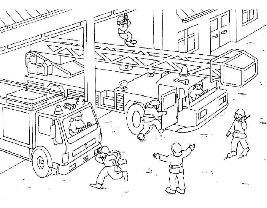 Скачать и распечатать раскраски пожарная машина