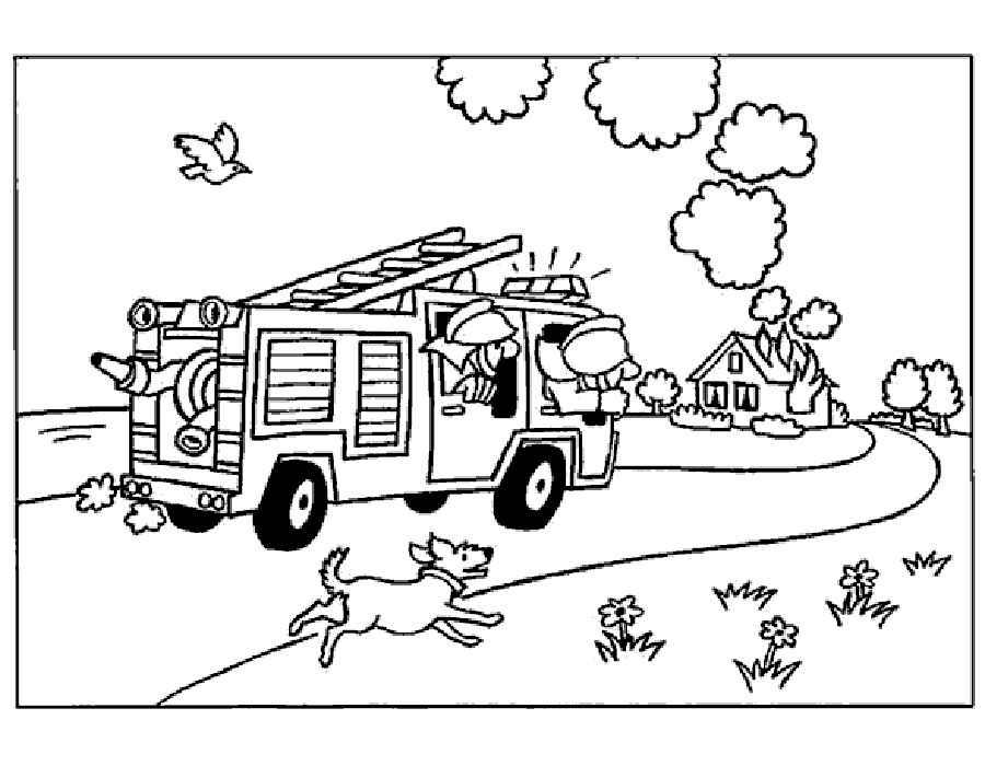 Раскраски детей пожарные