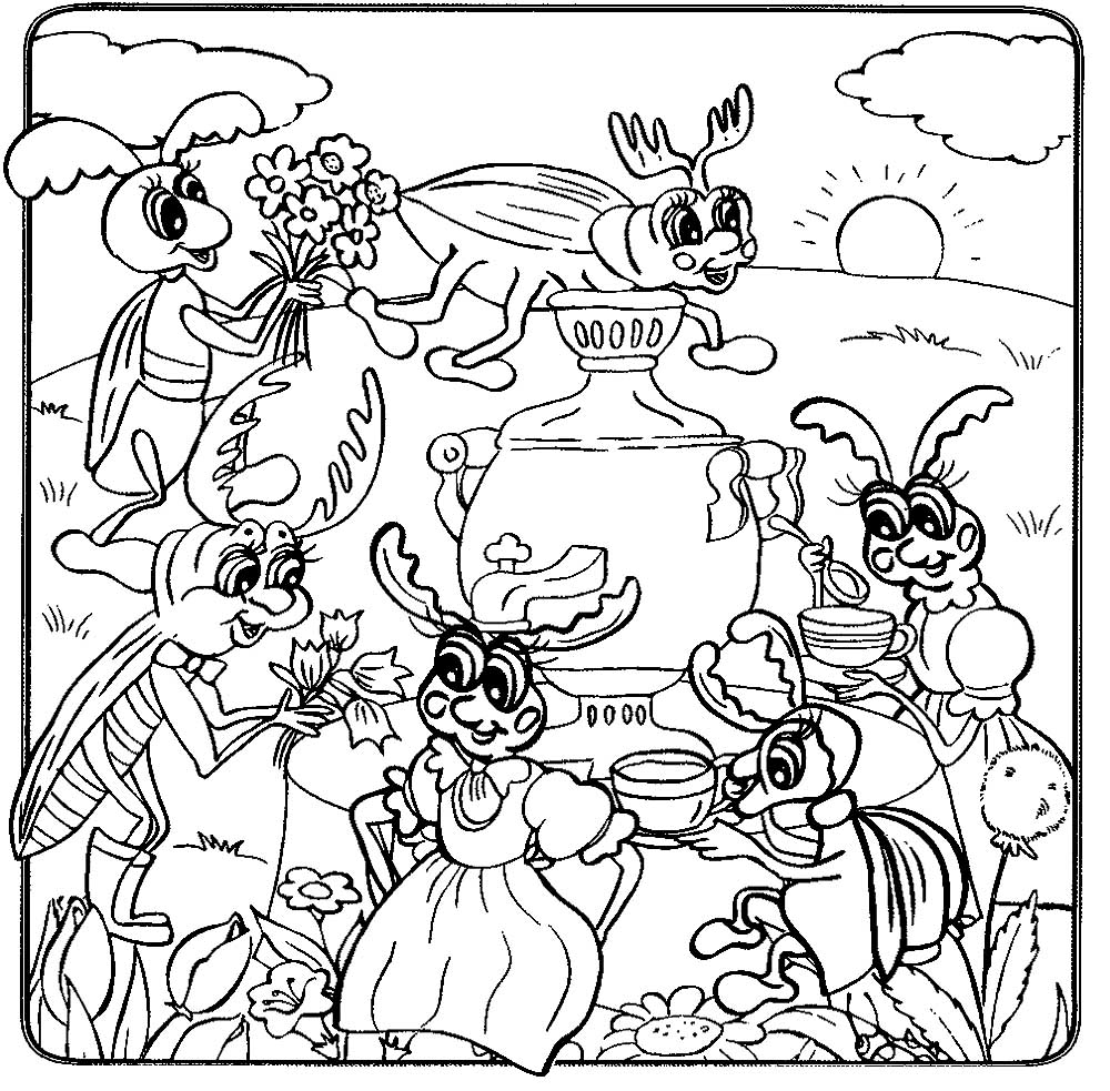 Открытка, картинки муха цокотуха раскраски