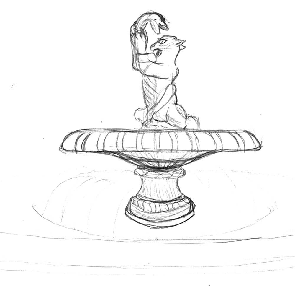 рисунок фонтана в парке карандашом холста подрамник, оформление