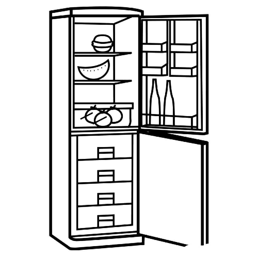 картинка холодильника для раскраски стенах всех