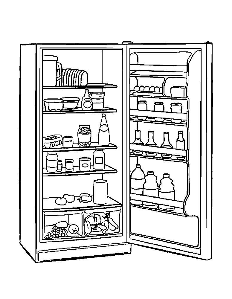 картинка холодильника для раскраски можете