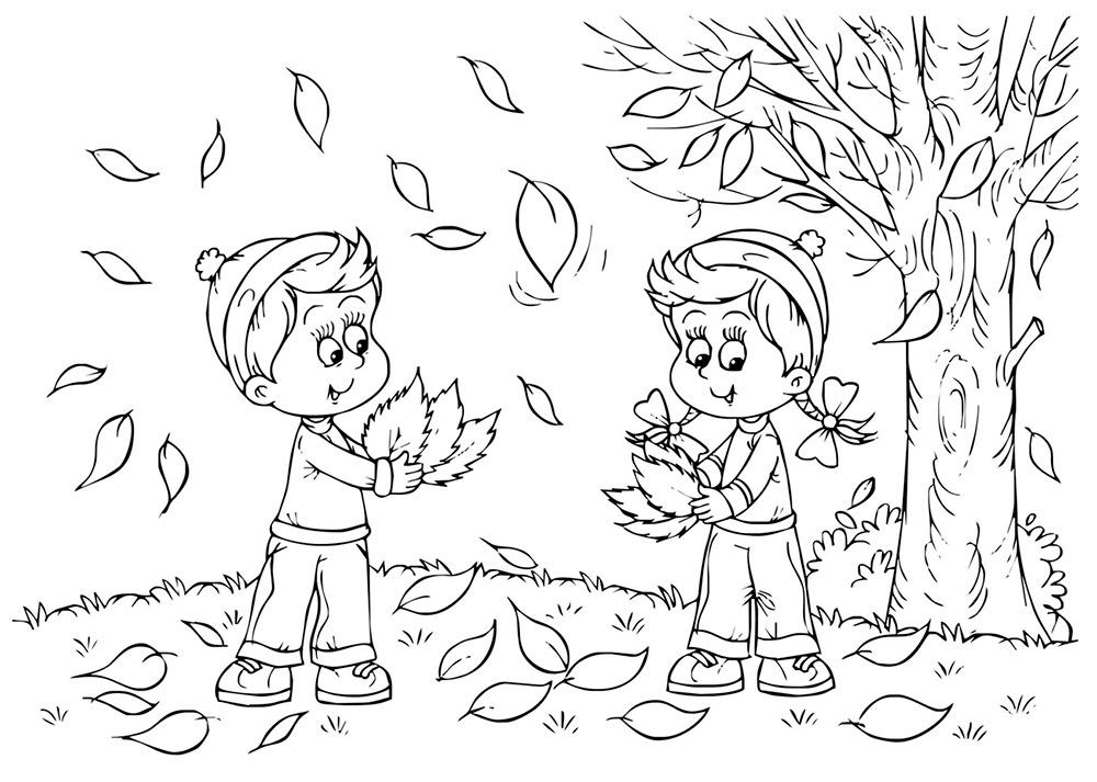 Чёрно-белый рисунок осени