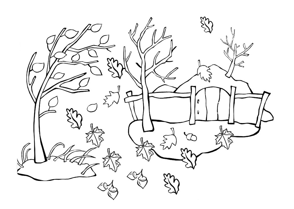 Раскраска осень скачать и распечатать
