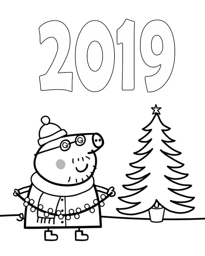 Тебя, новогодняя открытка для раскрашивания со свиньей