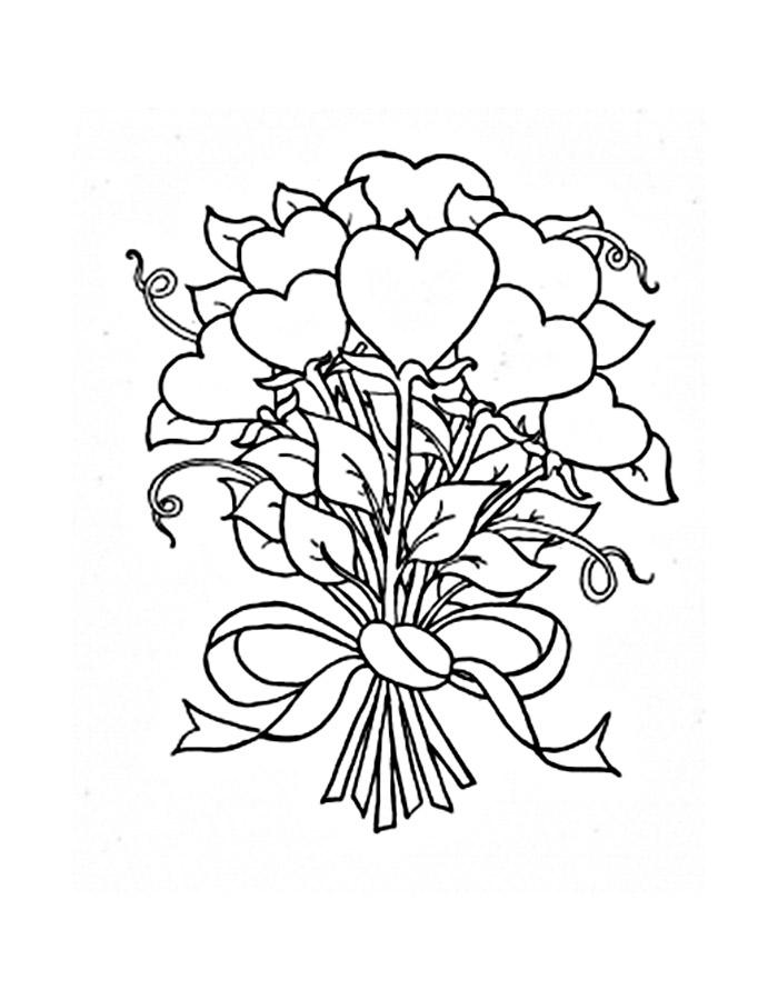 Раскраска букеты роз распечатать