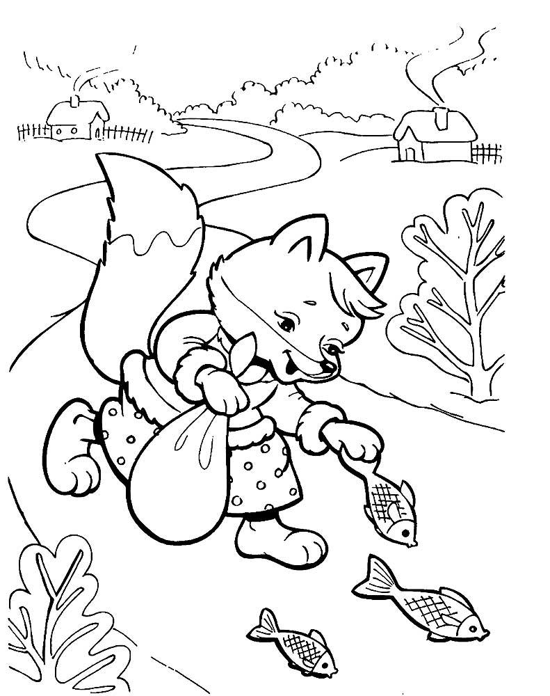Раскраска Волк и лиса скачать и распечатать