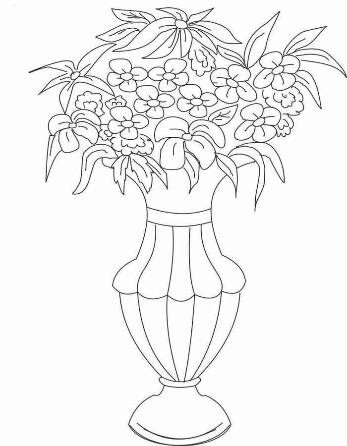 Раскраски цветы в вазе красивые