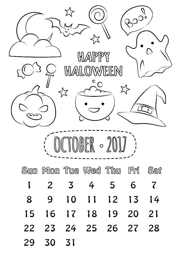 Раскраска октябрь скачать и распечатать