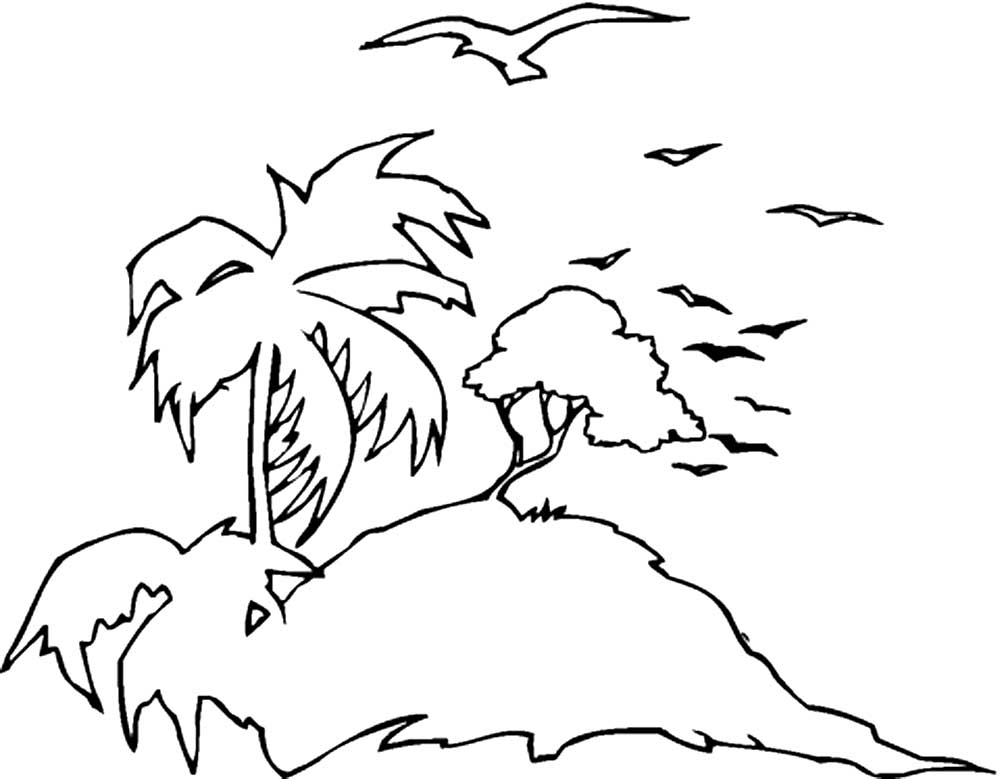 картинка остров контур