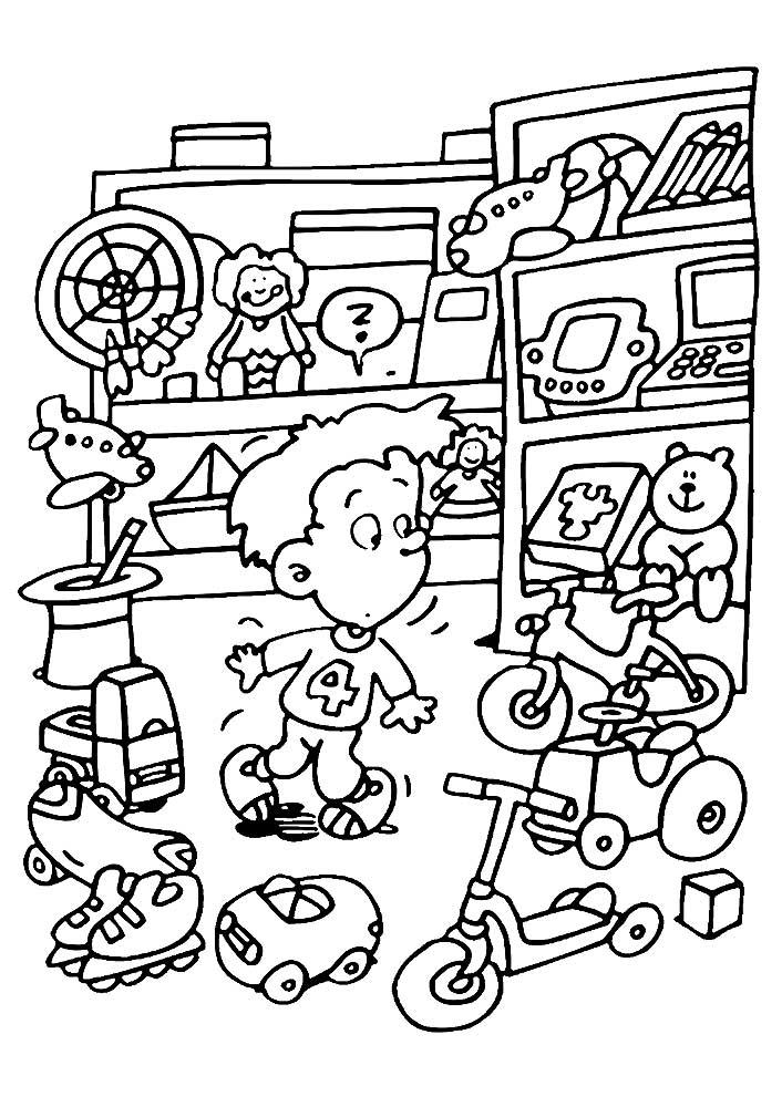 Раскраска магазин игрушек скачать и распечатать